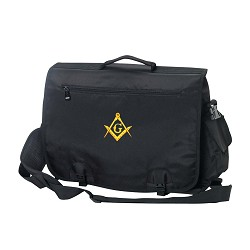 Briefcase / Computer Bag / Apron Case with Embroidered Masonic Square & Compass