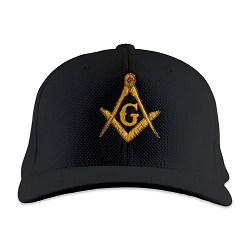 Gold Square & Compass Embroidered Masonic Flexfit Adult Cool & Dry Piqué Mesh Hat