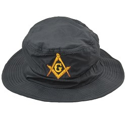 Gold Square & Compass Embroidered Masonic Guide Boonie Hat