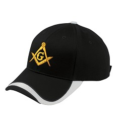 Gold Square & Compass Embroidered Masonic Sport Wave Adjustable Baseball Hat