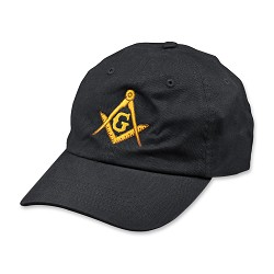 Gold Square & Compass Embroidered Masonic Brushed Twill Unstructured Hat
