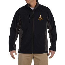 Gold Square & Compass Embroidered Masonic Men's Soft Shell Jacket