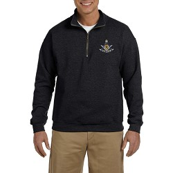 Past Master with Square & Protractor Embroidered Masonic Men's Quarter-Zip Sweatshirt