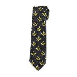 Square & Compass Masonic Neck Tie - [Black Gold Blue]