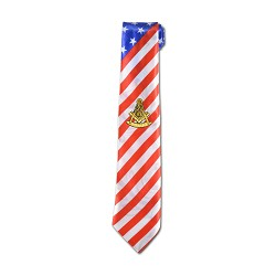 American Flag Past Master Masonic Neck Tie - [Red & White]