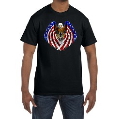 Patriotic Flag Eagle Wings Holding Square & Compass  Masonic Men's Crewneck T-Shirt