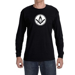 Filled Circle Square & Compass Masonic Men's Crew Neck Long Sleeve T-Shirt - [LongSleeve]