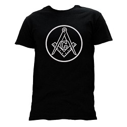 Circle Square & Compass Masonic Men's Crewneck T-Shirt - [Black]