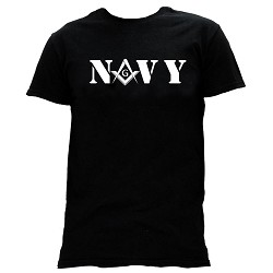 United States Navy Square & Compass Masonic Men's Crewneck T-Shirt - [Black]