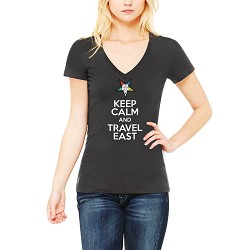 Keep Calm and Travel East Order of the Eastern Star Masonic Women's V-Neck T-Shirt