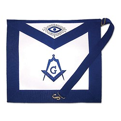 Master Mason with Sequined All Seeing Eye Masonic Apron - [Blue & White]