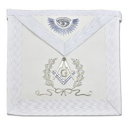 White Master Mason Masonic Apron with Silver Bullion