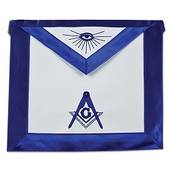 Satin Master Mason All Seeing Eye Masonic Apron - [Blue & White]