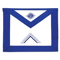 Worshipful Master Masonic Officer Apron - [Blue & White]