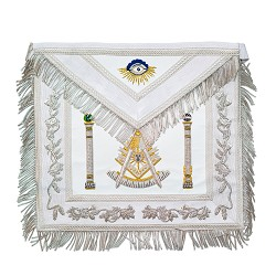 White Fringed Double Column Past Master Masonic Apron - [White]