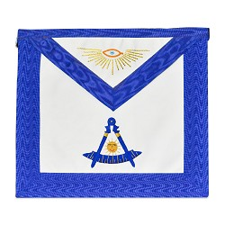Past Master with Gold Accents Masonic Apron - [Blue & White]
