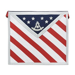 American Flag Past Master Masonic Apron - [Red White & Blue]