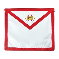Royal Arch High Priest Cryptic Council Reversible Cloth Duck Cotton Masonic Apron - [Red Purple & White]