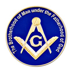 Brotherhood of Man Fatherhood of God Square & Compass Round Masonic Auto Emblem - [Blue & Gold][3'' Diameter]