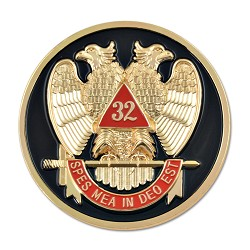 32nd Degree Scottish Rite Round Masonic Auto Emblem - [Black & Red][3'' Diameter]