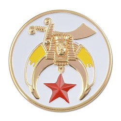 Shriner Round Masonic Auto Emblem - [White & Gold][3'' Diameter]