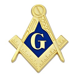 Square & Compass Masonic Auto Emblem - [Gold & Blue][2'' Tall]