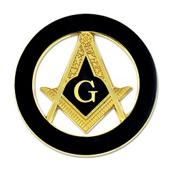 Square & Compass Round Masonic Auto Emblem - [Black & Gold][3'' Diameter]