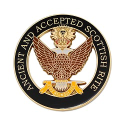 33rd Degree Double Headed Eagle Ancient & Accepted Scottish Rite Round Masonic Auto Emblem - [Black & Gold][3'' Diameter]