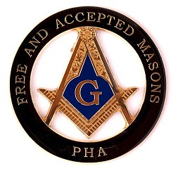 Prince Hall Free & Accepted Round Masonic Auto Emblem - [Black & Gold][3'' Diameter]
