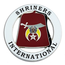 "Shriners International Fez Round Masonic Auto Emblem - [White & Red][3"" Diameter]"