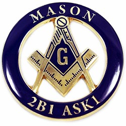 "Mason 2B1 ASK1 Round Masonic Auto Emblem - [Blue & Gold][3"" Diameter]"