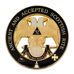 "32nd Degree Ancient & Accepted Scottish Rite Round Masonic Auto Emblem - [Black & Gold][3"" Diameter]"