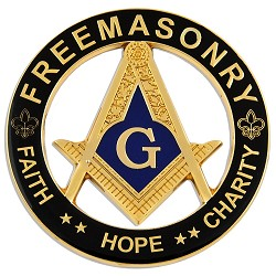 Faith Hope Charity Square & Compass Round Masonic Auto Emblem - [Black & Gold][3'' Diameter]