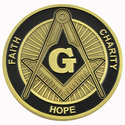 Square & Compass Faith Hope Charity Masonic Auto Emblem - [Black & Gold][3'' Diameter]