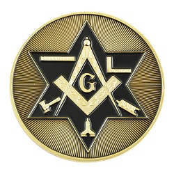 Shining Star of David Working Tools Square & Compass Masonic Auto Emblem - [Gold & Black][3'' Diameter]