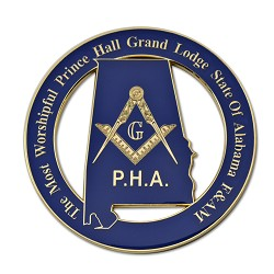 "The Most Worshipful Prince Hall Grand Lodge State of Alabama F&AM Masonic Auto Emblem - [Blue & Gold][3"" Diameter]"