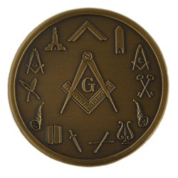 Square & Compass with Officer Symbols Blue Lodge Masonic Coin - RBL-62