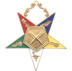 Secretary Order of the Eastern Star Masonic Officer Jewel - [Gold][2 1/2''] - RES-6