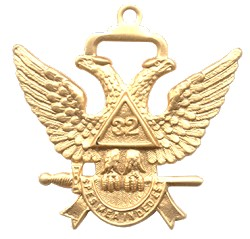 Double Headed Eagle (Wings Up) 32nd Degree Scottish Rite Jewel - [Gold] - RSR-1
