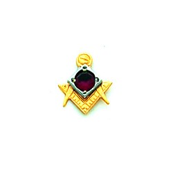 Square & Compass with Birth Stone Masonic Tie Tac - HOM129T