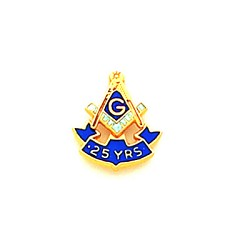25 Years Square & Compass Masonic Tie Tac - HOM7034TBL
