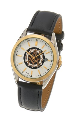 Bulova Square & Compass Two-Tone Leather Watch MSW101