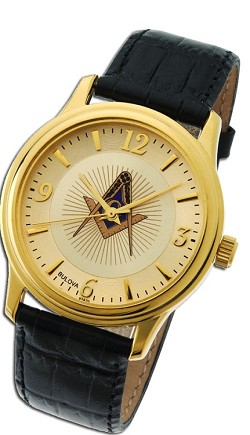Bulova Square & Compass Gold Leather Watch MSW102