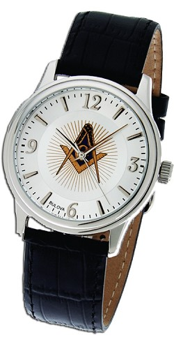 Bulova Square & Compass Silver Leather Watch MSW103