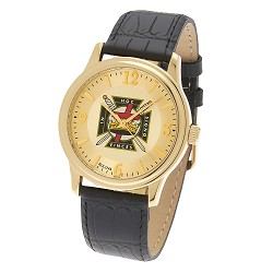 Bulova Knights Templar Gold Leather Watch MSW261