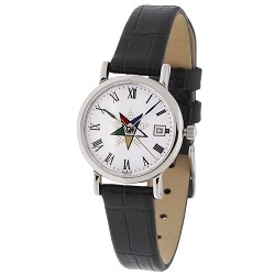 Order of the Eastern Star Silver Leather Watch MSW122