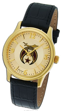 Bulova Shriner Leather Gold Watch MSW113