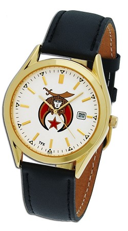 Bulova Shriner Gold Leather Watch MSW75