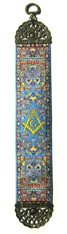 Square & Compass Blue Tapestry Masonic Bookmark - [9'' x 2'']