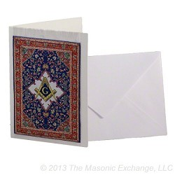 Square & Compass Blue Mini Carpet Tapestry Masonic Greeting Card